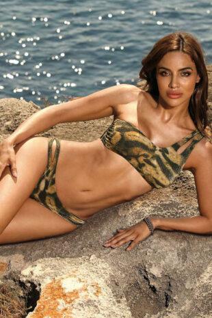 Barna mintás bikini aszimmetrikus kivitelben