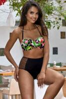 Fekete és zöld bikini modern virágmintával és kivágásokkal