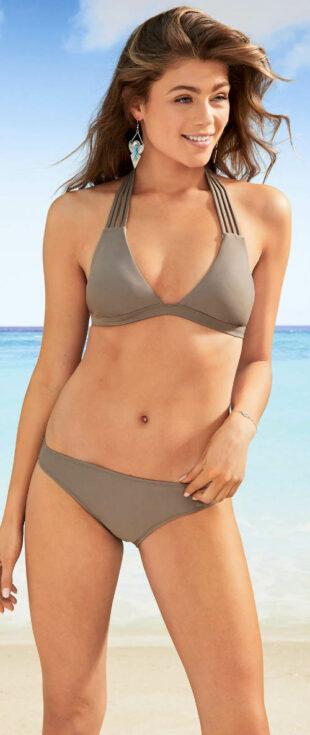 Szürke-barna háromszög bikini dekoratív nyakpántokkal