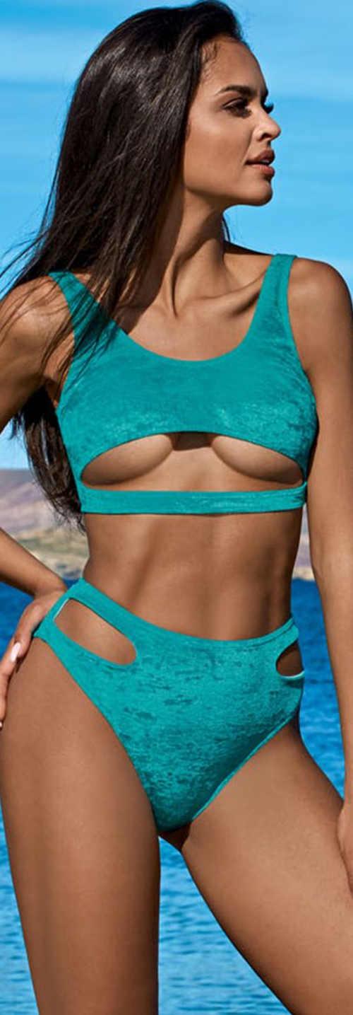 Türkiz női sport bikini, a bugyin és a melltartón hasítékkal