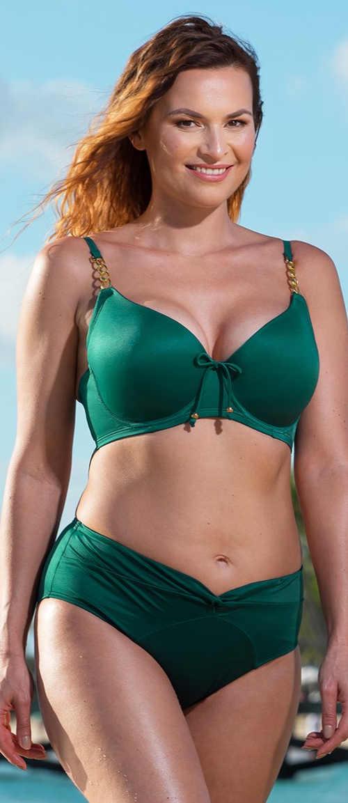 Zöld kétrészes fürdőruha a teljesebb dekoltázsért