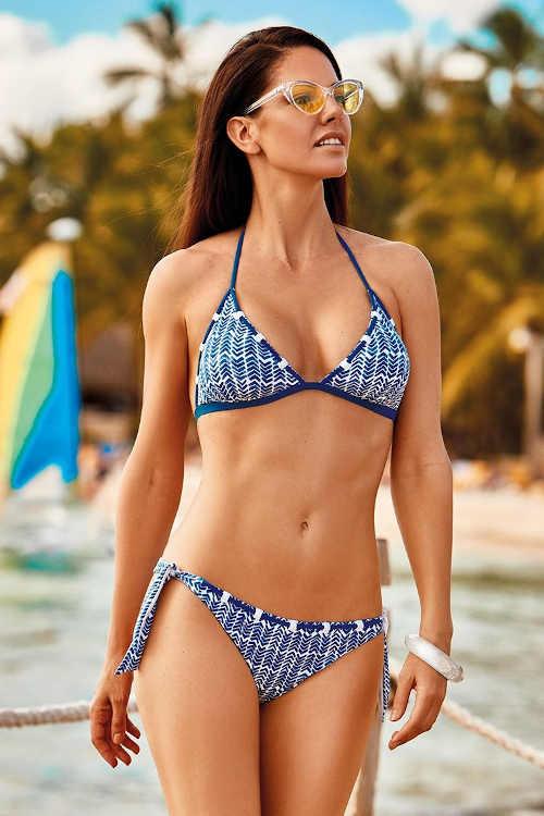 Kék mintás háromszög bikini nőknek