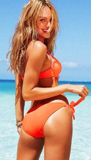 Női narancssárga push-up bikini