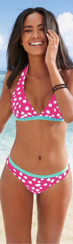 Pöttyös vagy csíkos fordítható háromszög bikini nőknek